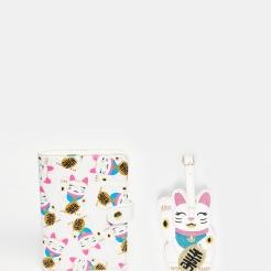 Etiquette bagage et porte-passeport chat, SkinnyDip, 24,99 euros
