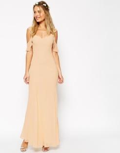 Maxi robe en biais avec manches volantées, Asos Wedding, 56,49 euros