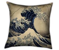 Coussin imprimé La Grande Vague d'Hokusai, Muzeo, 62,83 euros