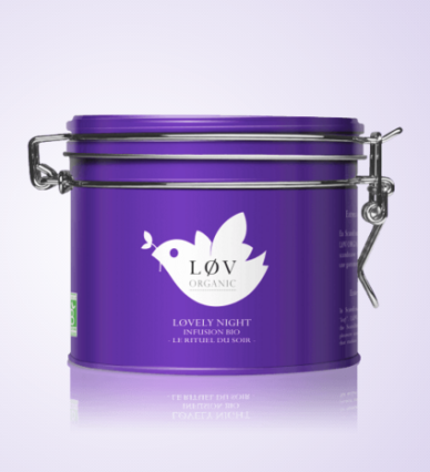 Infusion Lovely Night, Lov Organic, boite métal 100g, 12,90 euros