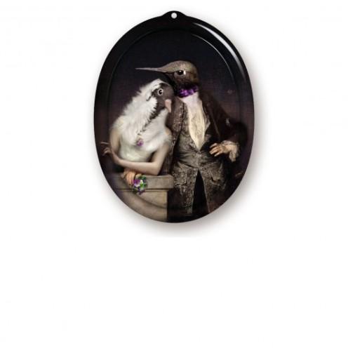 Plateau et cadre The Lovebirds, Collection le Boudoir, Ibride, 52 euros