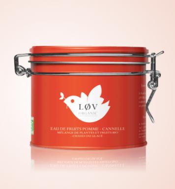 Eau de fruits pomme-cannelle, Lov Organic, boite métal 100g, 12,90 euros