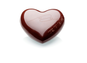 Cœur en chocolat noir garni, Patrick Roger, petit 25 euros et grand 35 euros