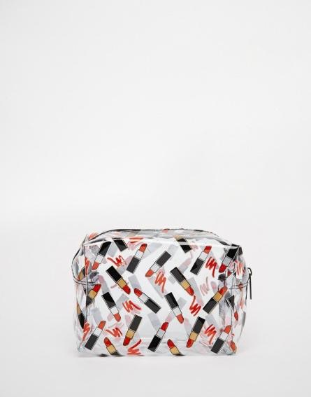Trousse de maquillage transparente imprimée RAL, Asos, 14,49 euros