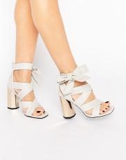Sandales à talons métallisés en cuir avec lien à nouer, Senso, 274,99 euros