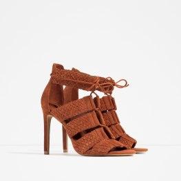 Sandales en cuir tressé, Zara, 69,95 euros