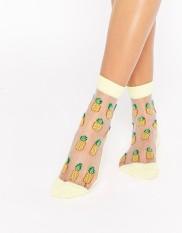 Socquettes transparentes motif ananas, 6 euros