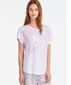 T-shirt manches courtes lin English Garden, Oysho, 22,99 euros
