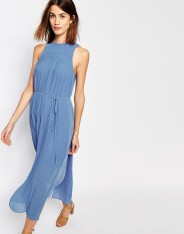 Robe mi-longue à micro plis, Warehouse, 86 euros