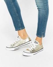 Baskets métallisées doré clair, Converse All Star Ox, 67 euros