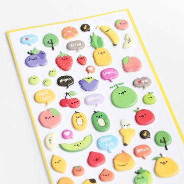 Stickers Kawaii fruits en relief, 3 euros