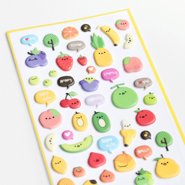 Stickers Kawaii fruits en relief, 3 euros