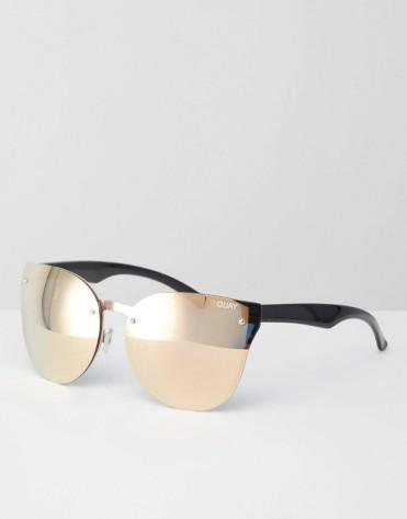 Lunettes de soleil yeux de chat sans monture, Quay Australia, 50 euros