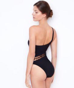 Céline maillot de bain 1 pièce, épaules asymétriques et jeux de laçage, Etam, 120 euros
