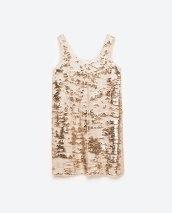 Robe bicolore à paillettes, 49,95 euros, Zara