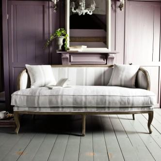 Banquette 2/3 places en lin blanc et gris clair MELUSINE, Maisons du monde, 559,90 euros