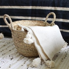 Couverture Berbère en laine avec pompons, Artisanat berbère, Twicy, 81 euros