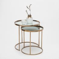 Table gigogne ronde dorée (lot de 2) Zara Home, 129 euros
