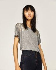 Tshirt imprimé à paillettes, Zara, 9,99 euros