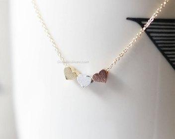 3 petits coeurs en collier, MissDiary, 17,15 euros