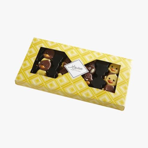 Chocolat au lait décoré, 4,70 euros, Chocolaterie Ickx