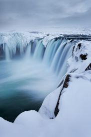 The beautiful Godafoss waterfall in Iceland during winter.