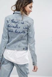 Veste en jean brodée, 57,99 euros, Only